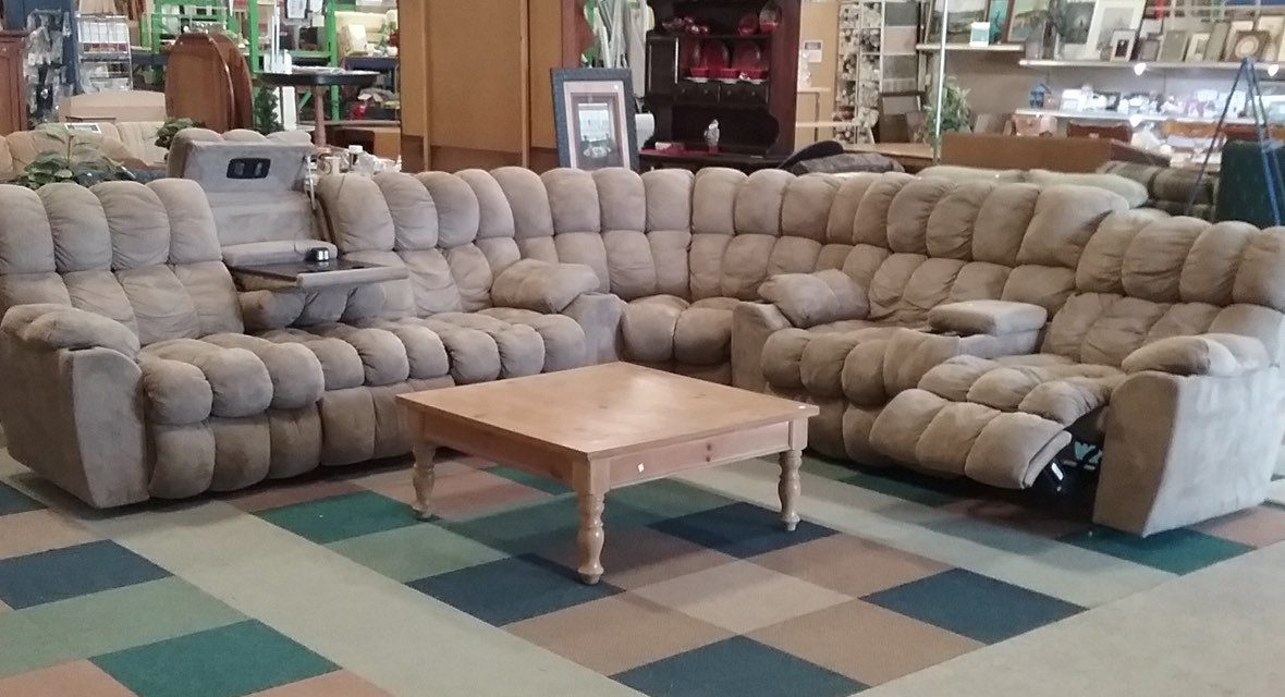 A sectional sofa in the ReStore